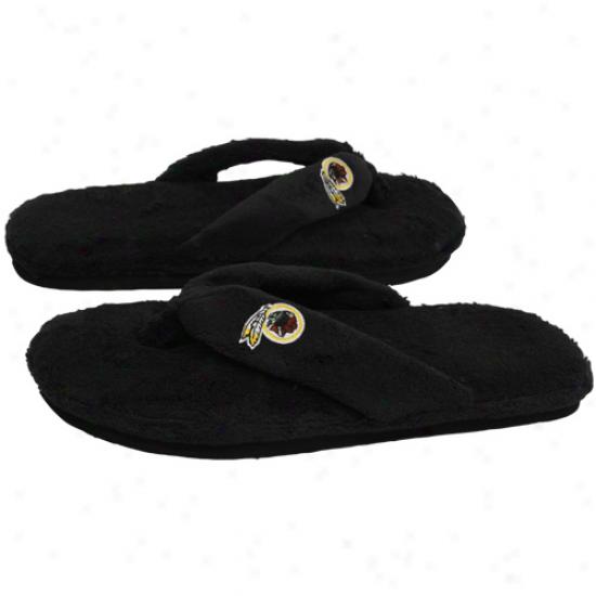 Washington Redskins Ladies Black Plush Thong Slippers