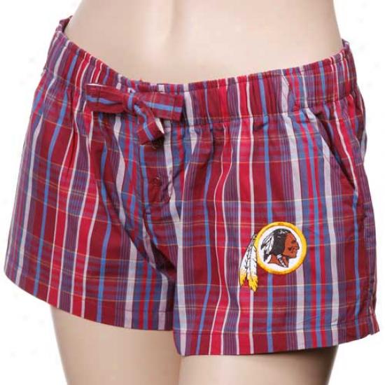 Washington Redskins Ladies Burgundy Spectrum Woven Plaid Shorts