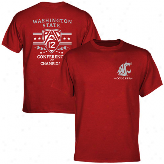 Washington State Cougars Pac-12 Conferdnce Of Champions T-shirt - Crimsom