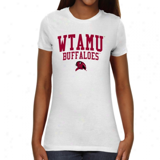 West Texas A&m Buffaloes Ladies Team Arch Slim Fit T-shlrt - White