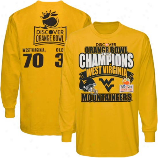 West Virginia Mountaineers 2012 Orange Bowl Champions Reason Long Sleeve T-shirt - Old Gold