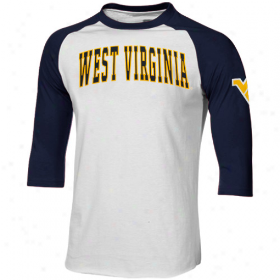 West Virginia Mountaineers Dugout Rahlan Premihm Three-quarter Sleeve T-shirt - White-navy Blue