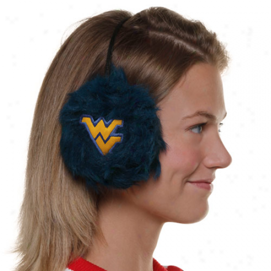 West Virginia Mountaineers Ladies Navy Blue Furry Cheer Ear Muffs