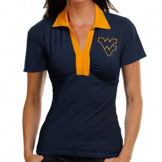 West Virginia Mountaiheers Ladies Navy Blue Jessie Polo