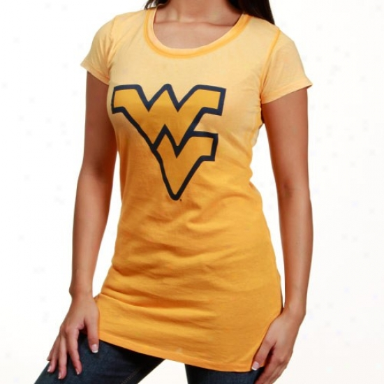 West Virginia Mountaineers Ladies Old Gold Seam Wash T-shirt