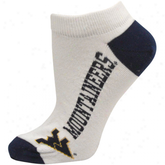West Virginia Mountaineers Ladies White Logo & Name Ankle Socks