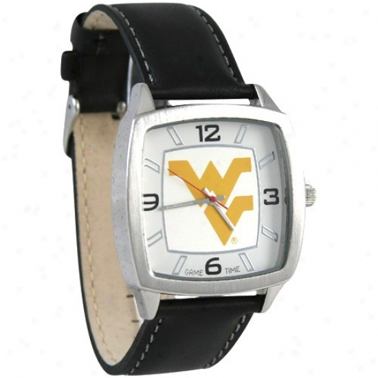 West Virginia Mountaineers Leather Banded Retro Watch