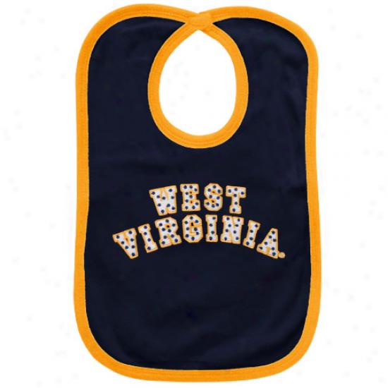 West Virginia Mountaineers Navy Pedantic  Polka Dot Twill Bib