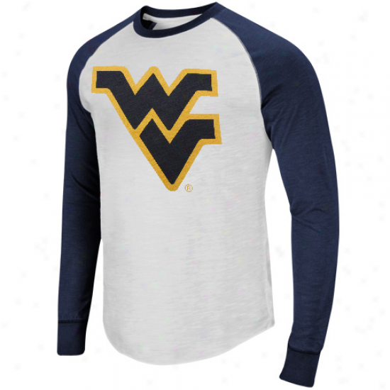 West Virginia Mountaineers Pressbox Slub Raylan Long Sleeve T-shirt - White/navy Blue