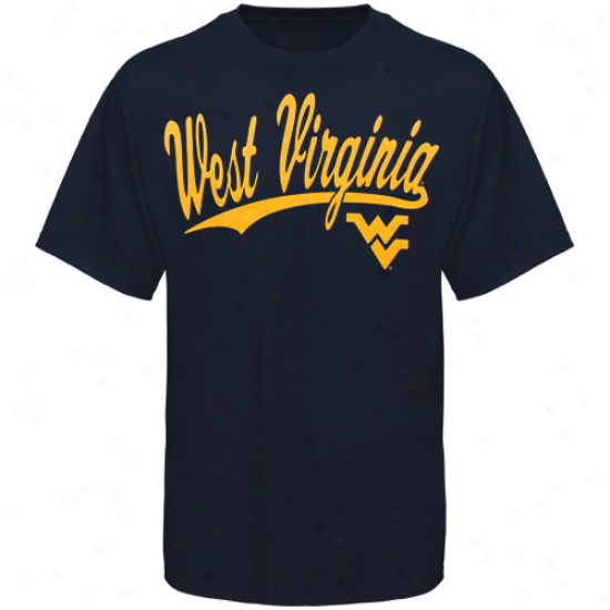 West Virginia Mountaineers Script One T-shirt - Navy Blue
