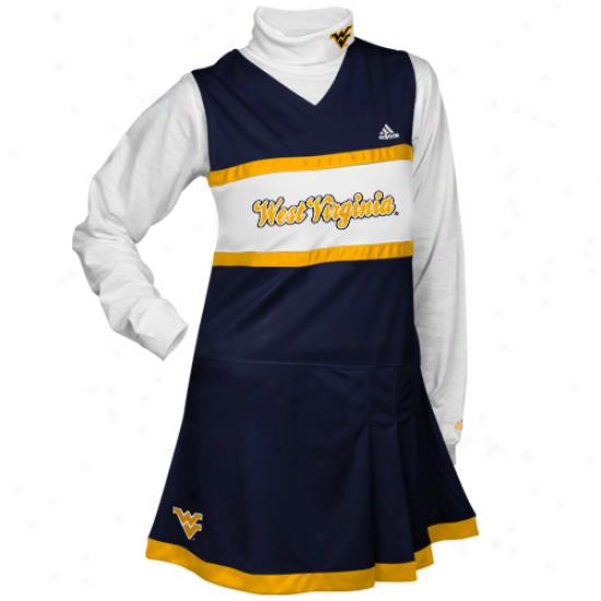 West Virginia Mountaineers Youth Girls Navy Blue-white 2-piece Turtleneck & Cheerleader Dress Set