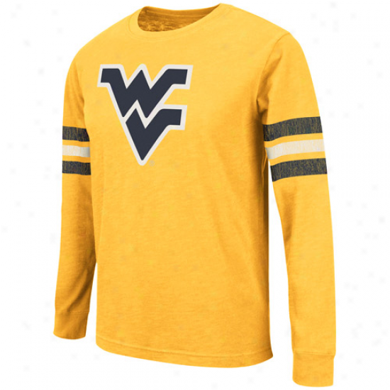 West Virginia Mountaineers Youth Tackle Team Long Sleeve T-shirt - Old Gold