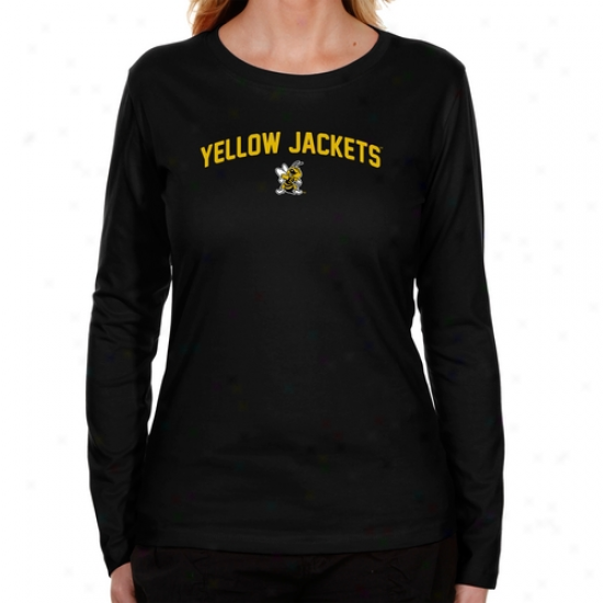 West Virginia Express  Yellow Jackets Ladies Mascot Logo Long Sleeve Classic Fit T-shirt - Black