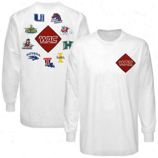 Western Athletic Conference White Conference Diamond Long Sleeve T-shirt