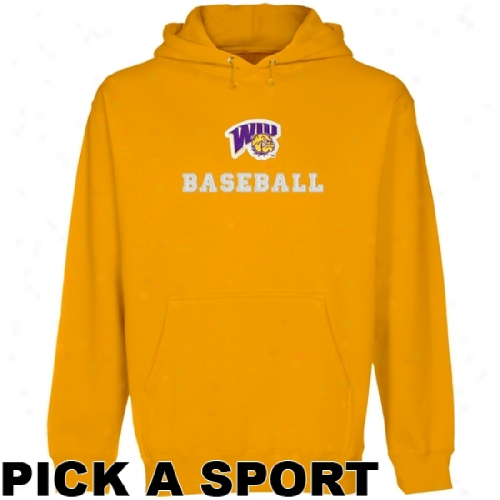 Western Illinois Leathernecks Custom Sport Logo Applique Pullover Hoodie - Gold