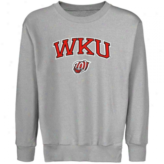 Western Kentucky Hilltoppers Youth Ash Logo Chief Applique Crew Neck Fleece Sweatshirt