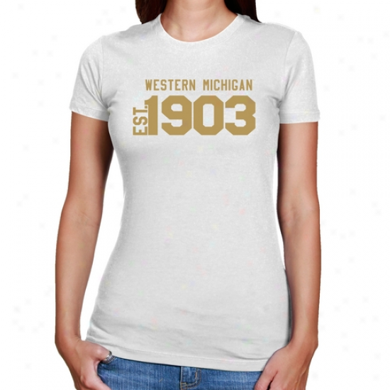 Western Michigan Broncos Ladies White Est. Fix the ~ of Slim Fit T-shirt