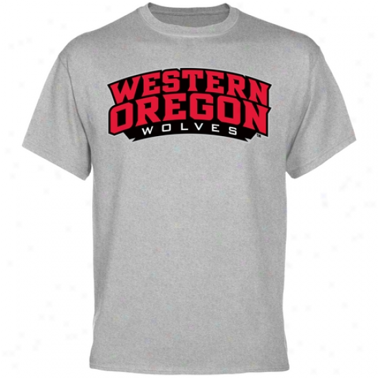 Western Oregon Wolves Team Arch T-shirt - Ash