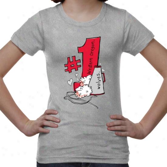 Western Oregon Wolves Youth #1 Fan T-shirt - Ash