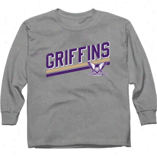 Westminster Griffins Youth Rising Bar Long Seeve T-shirt - Ash