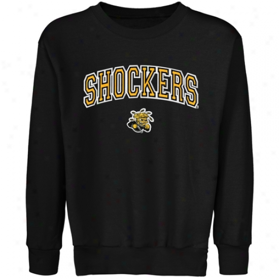Wichita National Shockers Youth Logo Arch Applique Crew Neck Fleece Sweatshirt - Black