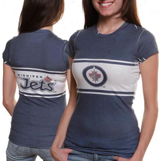 Winnipeg Jets Ladies Big Stripe T-shirt - Navy Blue-white