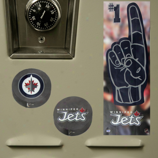 Winnipeg Jets Puck & #1 Fan Locker Decal Set