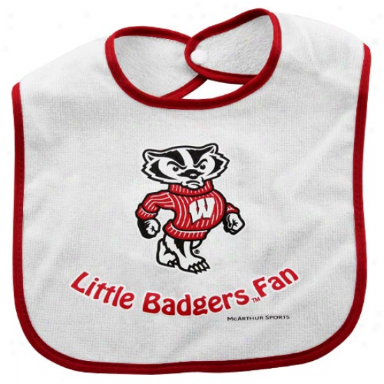 Wiscinsin Badgers Cotton Baby Bib -white