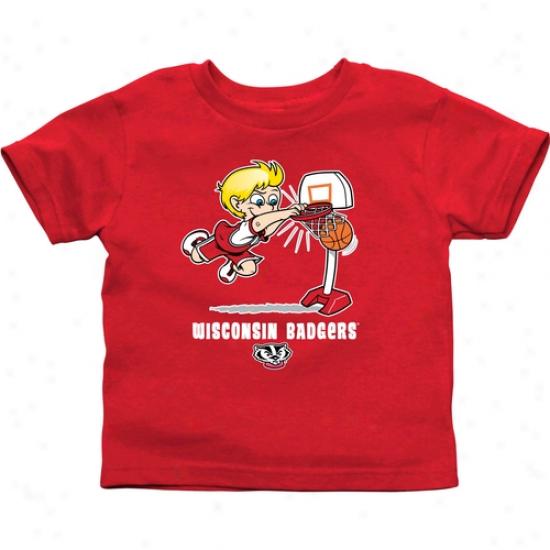Wisconsin Badgers Babe Boys Basketball T-shirt - Cardinal