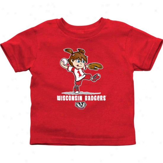 Wisconsin Badgers Infant Girls Softball T-shirt - Cardinal