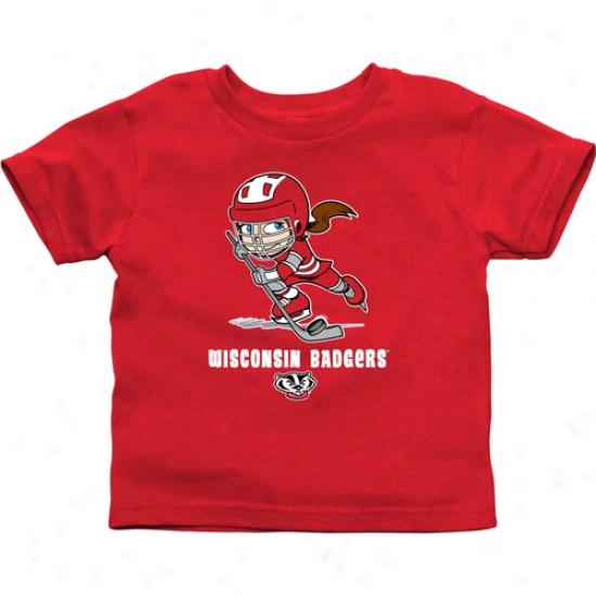 Wisconsin Badgers Infant Puck Princess T-shirt - Cardinal