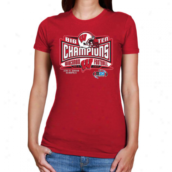 Wisconsin Badgers Ladies 2011 Big Ten Football Champions T-shirt - Cardinal