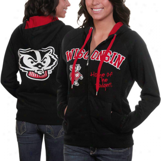 Wisconsin Badgers Ladies Black Track Meet Abundant Zip Hoodie Sweatshirt