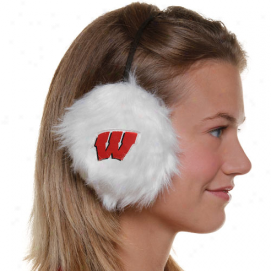 Wisconsin Badgers Ladies White Furry Cheer Ear Muffs