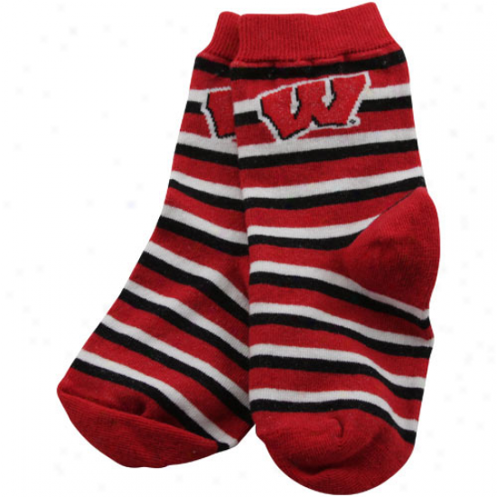 Wisconsin Badgers Toddler Cardinal Striped Rugby Socks