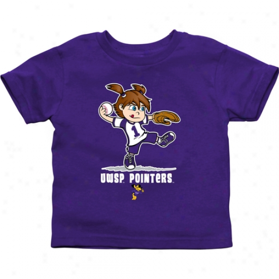Wisconin-stevens Point Pointers Toddler Girls Softball T-shirt - Purple