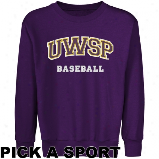 Wisconsin-stevens Point Pointers Youth Custom Sport Arch Applique Crew Neck Fleece Sweatshlrt - Purple