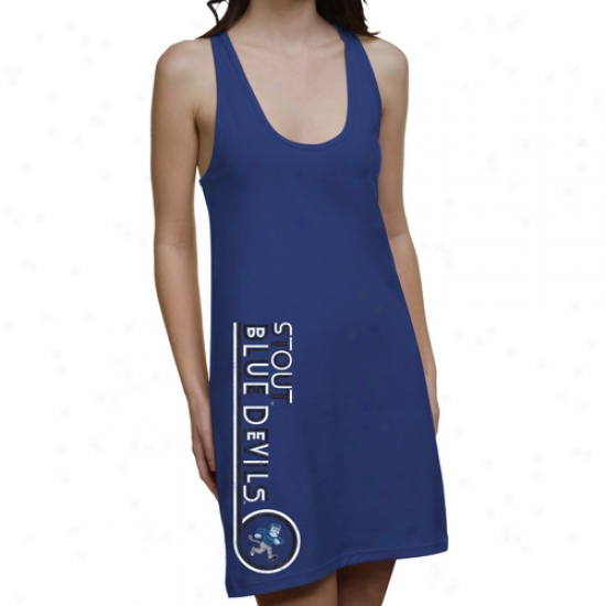 Wisconsin Stout Blue Devils Ladies Retro Junior's Racerback Dress - Royal Blue