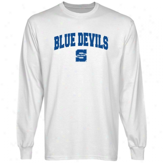 Wisconsin Stout Blue Devils White Logo Arch Long Sleeve T-shirt