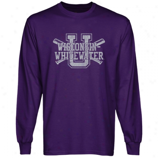 Wisconsin-whitewater Warhawks Crossed Sticks Long Sleeve T-shirt - Purple