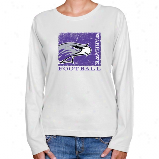 Wisconsin-whitewater Warhawks Ladies White Sporf Stamp Long Sleeve Greek  Fit T-shift