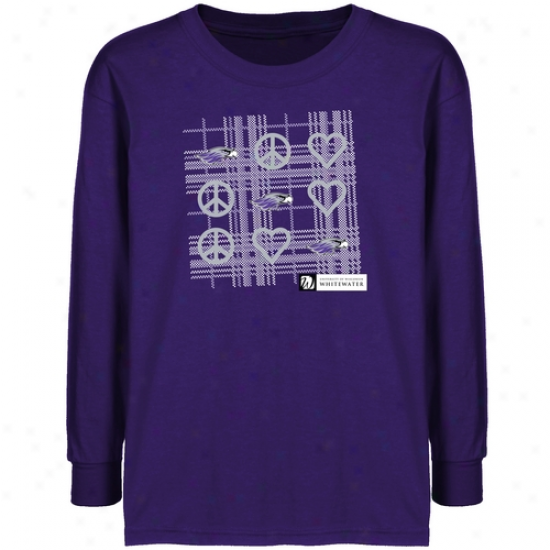 Wisconsin-whitewater Warhawks Youtth Purple Tic-tac-toe T-shirt