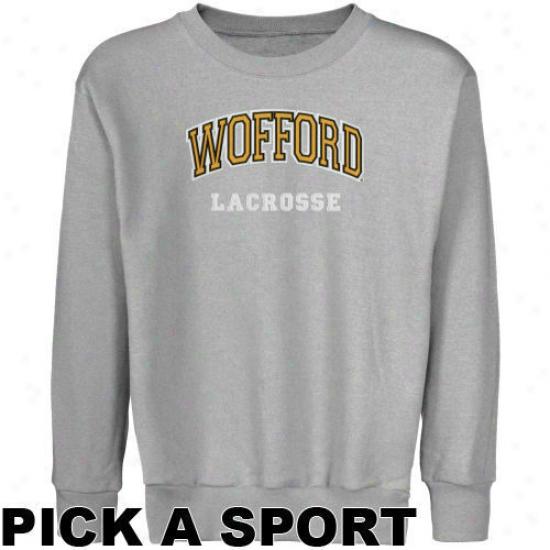 Wofford Terriers Yoith Ash Custom Sport Arch Applique Crew Neck Fleece Sweatshirt -