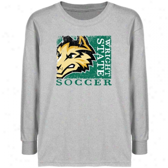 Wright State Raiders Youth Ash Sport Stamp T-shirt