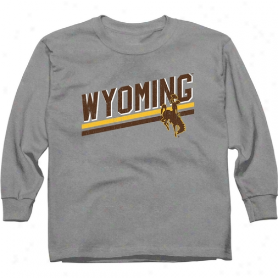 Wyoming Cowboys Young men Rising Bar Long Sleeve T-shirt - Ash