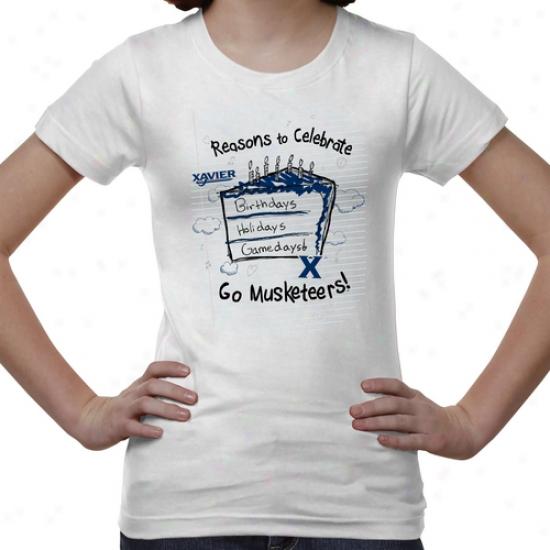 Xavier Musjeteers Youth Celebrate T-shirt - White