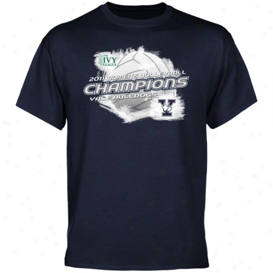 Yale Bulldogs 2011 Ivy League Women's Volleyball Champions T-shirt - Navy Blue