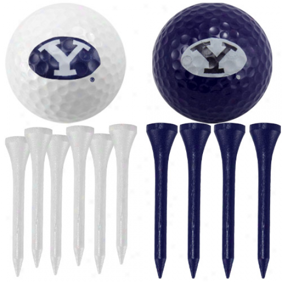 Yale Bulldogs Golf Balls nAd Tees Set - White/yale Blue