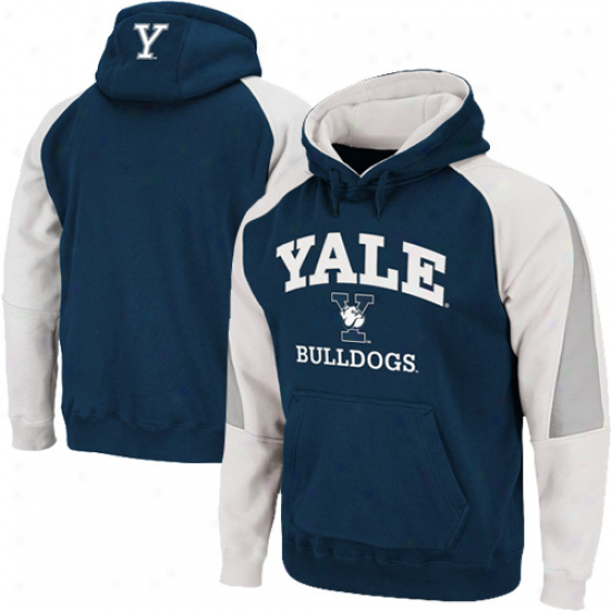 Yake Bulldogs Navy Blue-white Playmaker Pullover Hoodie Sweatshirt