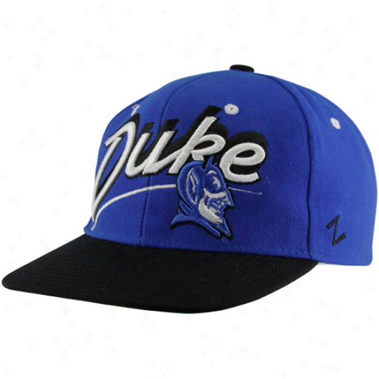 Zephyr Duke Blue Devils Shaeow Script Snapback Hat - Duke Boue-black